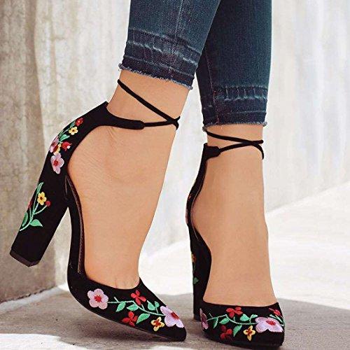 Sandalias Floral De Alto Tacón Mujeres Zapato Pie Vendaje Bordado z Las Dedo Negro Del Qiyun Gruesas 5wq1WHY
