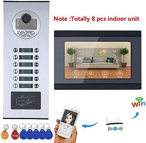 12ボタン8モニター防水と7インチのレコード有線無線LAN 8アパート/ファミリービデオドア電話インターホンシステムRFID IR-CUT HD 1000TVLカメラドアベルカメラ