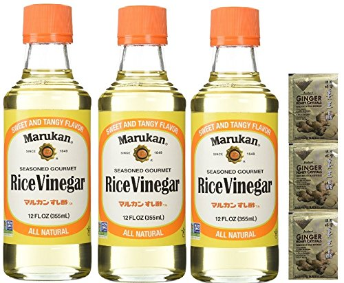 Marukan Seasoned Gourmet Rice Vinegar (Pack of 3) Plus a Free Gift Instant Ginger Honey Crystals