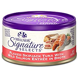 Wellness Signature Selects Natural Canned Grain Free Wet Cat Food, Flaked Tuna & Wild Salmon, 2.8-Ounce Can (Pack of 24)