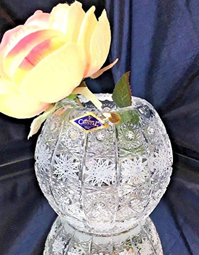 Czech Bohemian Crystal Glass Vase-Ball 5''-Height Handmade Decorative Wedding Gift Hand Cut Classic Vintage Lace Design Elegant Centerpiece Flower Vase (Bohemian Vase)