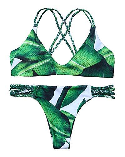 MOOSKINI Womens Padded Two Piece Tankinis Printed Leaf Bikini Set Swimsuit (S, Leaf-7)