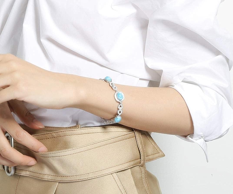 Tuoke 925 Sterling Silver Larimar Bracelet Adjustable Natural Stone Charm Bracelet Fine Jewelry for Women and Girl /…