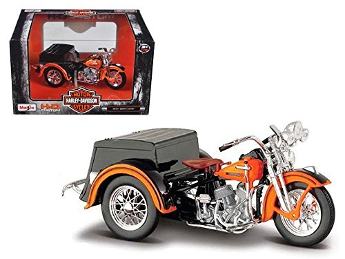 NEW MAISTO MOTORCYCLES 1:18 HARLEY-DAVIDSON CUSTOM - ORANGE BLACK 1947 SERVI-CAR By (18 Diecast Harley Davidson Motorcycle)