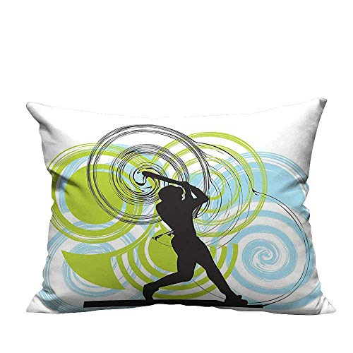 YouXianHome Sofa Waist Cushion Cover Baseball Player Figure with Rounds and Circles on His Bat Wild Pitch Fast Decorative for Kids Adults(Double-Sided Printing) 19.5x30 inch