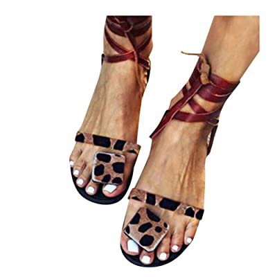 Sandals for Women Flat, 2020 Lace Up Gladiator Comfy Ladies Fashion Leopard Print Slip On Casual Summer Sandals at Women's Clothing store