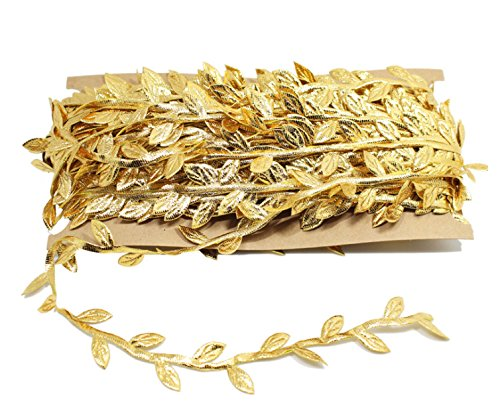 Gold Leaf Trim Ribbon, 33 Yard Artificial Vines for DIY Craft Party Wedding Home Decoration (Gold) -