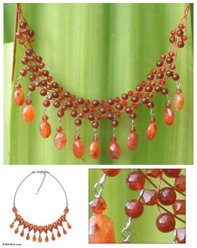 Carnelian waterfall necklace, 'Labyrinth' - Beaded Carnelian Necklace from Thailand