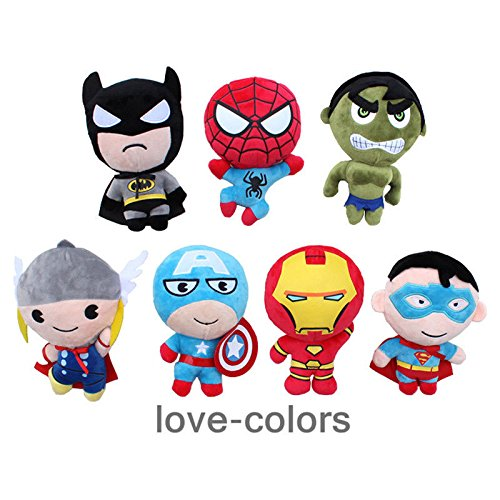 L 7 pcs Superheroes Hulk Iron Man Thor Batman Superman Captain America Plush Toy