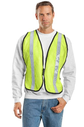 Port Authority Mesh Vest - Port Authority Men's Mesh Enhanced Visibility Vest L/XL Safety Yellow