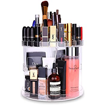 Makeup Organizer HOMEASY Acrylic 360 Degree Rotating Cosmetic Storage Large Capacity Makeup Tools Holder for Countertop Fits Toner Creams Makeup Brushes Lipsticks and More