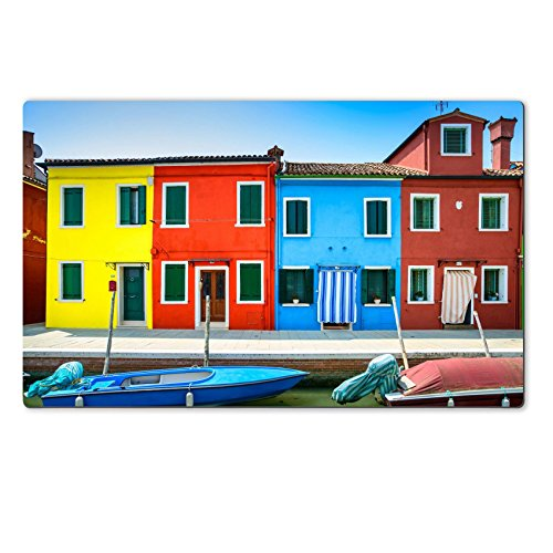 Landmark Tiffany Kitchen Island (Luxlady Large TableMat IMAGE ID 21426640 Venice landmark Burano island canal colorful houses and boats Italy Long exposure)