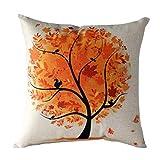 Changeshopping Flower Tree Pillow Case Sofa Waist Throw Cushion Cover Home Decor (orange)