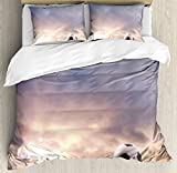 Sports Decor Queen Size Duvet Cover Set by Ambesonne, Soccer Ball on Green Grass Dark Clouds Sunrise Meadow Landscape Picture, Decorative 3 Piece Bedding Set with 2 Pillow Shams