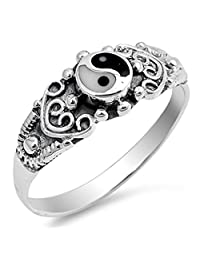 Yin Yang Simulated Mother of Pearl Simulated Black Onyx Ring New 925 Sterling Silver Band Sizes 4-11