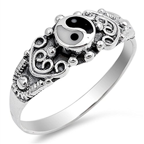 Yin Yang Simulated Mother of Pearl Simulated Black Onyx Ring New 925 Sterling Silver Band Size 8