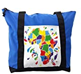 Lunarable Abstract Shoulder Bag, Africa Continent Countries, Durable with Zipper
