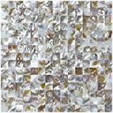 """stone tile fireplace designs Art3d Groutless Mother of Pearl Backsplash Wall Tiles 12"""" X 12"""" Natural Polychrome, 0.8""""x0.8"""" Chip (6 Tiles)"""