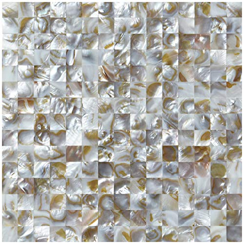 Art3d Seamless Mother of Pearl Backsplash Wall Tile in Natural Polychromy,Pack of 6 Tile,Size of Tile:11.8 x 11.8In (Mother Roses Pearl Of)