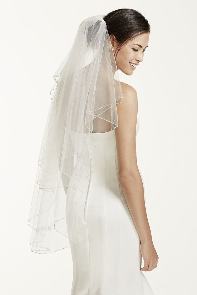 Two Tiered Veil with Beaded Metallic Edging Style VCT258S, White