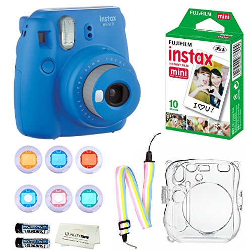 Fujifilm Instax Mini 9 Instant Camera (Cobalt Blue) + 10 Fuji Instant Film Sheets + Convenient Instax Clear Case W/ Rainbow Strap + 6-Color Lenses & More