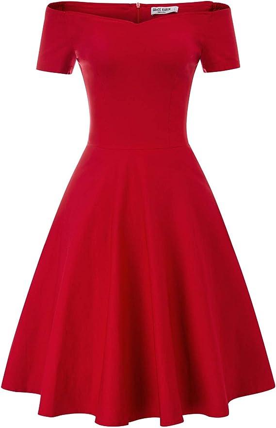 Rockabilly Dresses | Rockabilly Clothing | Viva Las Vegas GRACE KARIN Womens Off Shoulder Stretchy Cocktail Party Dresses  AT vintagedancer.com