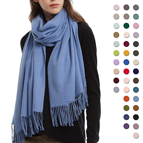 (Womens Winter Scarf Cashmere Feel Pashmina Shawl Wraps Soft Warm Blanket Scarves for Women (One size, Cobalt BlueDenim Blue))