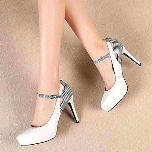 CN36 Talons Assortie Escarpin MUMA Couleur Simples Chaussures UK4 Taille Noir Pointu Chaussures Boucle Blanc EU36 Hauts Plaids à Couleur Hauts Talons qHqzxtdw