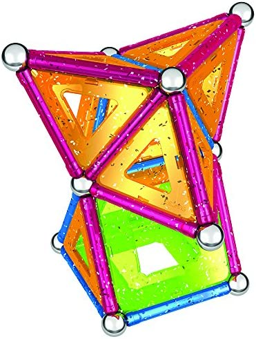 GEOMAG Magnetic Toys | Magnets For Kids | STEM-endorsed Educational Building Set For Creativity & Learning Fun | Swiss-made | Age 3+ GLITTER 68-piece