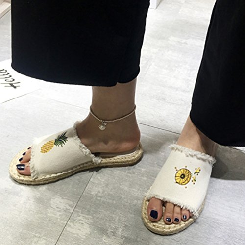 Confort Chaussons Été Xinwcang Pantoufles Antidérapant pour Et Sandales Ouverts Automne Blanc Mules Femme qEpHF