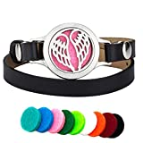 Efantina Angel Wings Aromatherapy Essential Oils Diffuser Bracelet Leather Band, 316L Stainless Steel Perfume Locket Bangle Jewelry with 9 Color Refill Cotton Pads and Gift Box