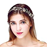 Aliany Bridal Vintage Crystal Pearl Hairbands Wedding Hair Accessories (Gold)