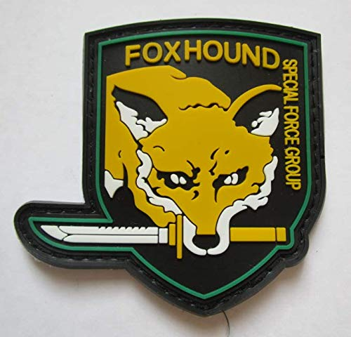 Metal Gear Solid Fox Hound Military PVC Patch Rubber Badges Patch Tactical Stickers for Clothes Back with Hook -