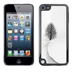 FECELL CITY // Duro Aluminio Pegatina PC Caso decorativo Funda Carcasa de Protección para Apple iPod Touch 5 // Winter Storm Snow Black White Tree Beautiful