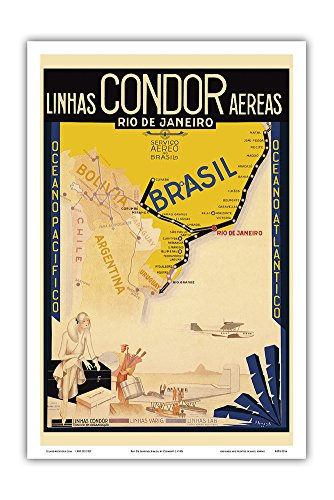 Varig Airlines - Rio De Janeiro, Brazil - Syndicato Condor Linhas Aéreas (Airlines) - Varig - LAB - Vintage Airline Travel Poster by Clement c.1930s - Master Art Print - 12in x 18in