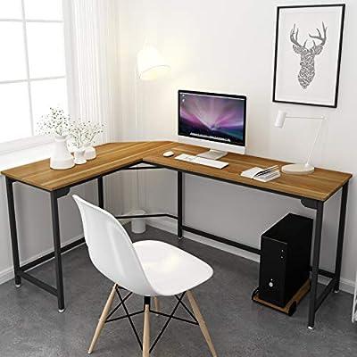 Simlife L-Shaped Computer Desk Office Corner Workstation Simple Modern  Design Gaming Laptop Study Table Wood & Metal,Walnut