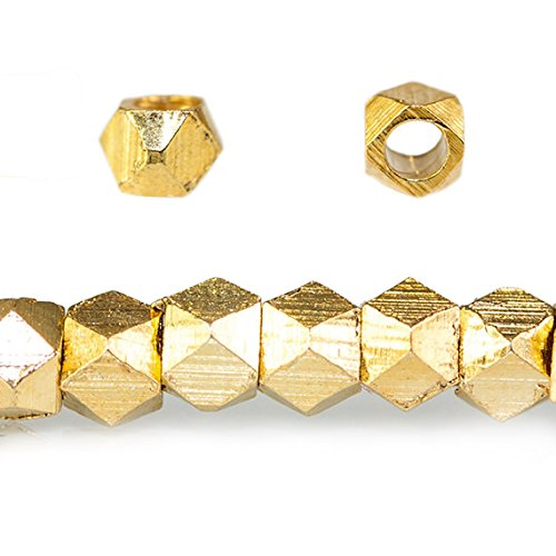 2.5mm 22kt Gold Plated Copper Faceted Nugget Beads 8 inch 86 Beads ()