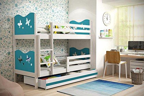 Etagenbett MAX Farbe weiß inkl. Matratzen und Lattenrost