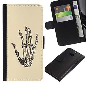 ZCell / HTC One M8 / Anatomy Hand Skeleton Bone Death / Caso Shell Armor Funda Case Cover Wallet / Anatomía Mano Esqueleto Hueso Muerte