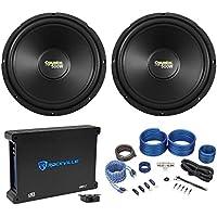 2) Coustic By MTX C124 12 1000 Watt Car Audio Subwoofers+Mono Amplifier+Amp Kit