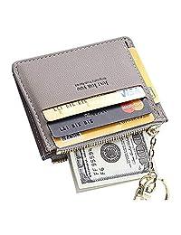 PSEEHEE Slim Minimalist Keychain Wallet Women, Small Front Pocket Wallets Credit Card Holder Case, Change Coin Purse Women Girls Key Ring Chain Grey