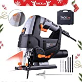 Jigsaw,Tacklife 6.7 Amp 3000 SPM Laser Jig Saw, with LED Light, Max Bevel Cutting Angle (-45°-45°), Variable Speed Dial (1-6) , Pure Copper Motor,6pcs Jigsaw Blades, Metal Guide Ruler, Includes Carrying Case | PJS02A