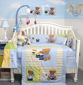 SoHo Rock N Roll Teddy Bear Crib Nursery Bedding Set 13 pcs included Diaper Bag with Changing Pad & Bottle Case