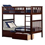 Woodland Bunk Bed with Urban Bed Drawers, Antique Walnut, Twin Over Twin