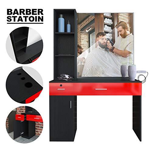 Artist Hand Wall Mount Salon Station Barber Stations Styling Station Barber Beauty Spa Salon Equipment Set with Mirror,Left Shelf (Black/Red)