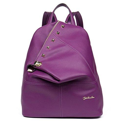 BOSTANTEN Leather Backpack Purse School Travel Shoulder Bags Casual Daypack for Women & Girls Purple by BOSTANTEN