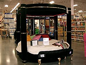 Modern Black Velvet Round 4 Post Canopy Bed King With Mirror LightsON SALE NOW