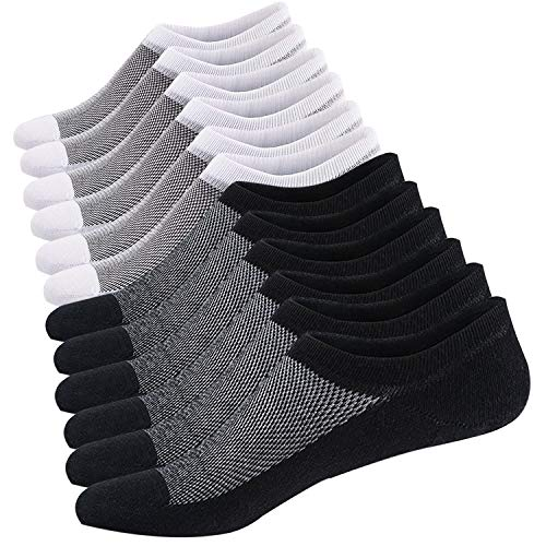 Men's Cotton Low Cut No Show Casual Loafer Socks Boat Shoe Liners with Non-Slip Grip (Shoe Size:10-14, Black/White (3 Pairs - Non Boat Slip Shoes