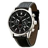Jorg Gray JG6500 Non-Commemorative Round Watch with Black Italian Buffalo Grain Leather Strap with White Stitches