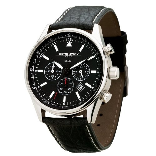 Jorg Gray Men's Quartz Stainless Steel and Leather Dress Watch, Color:Black (Model: JG6500)